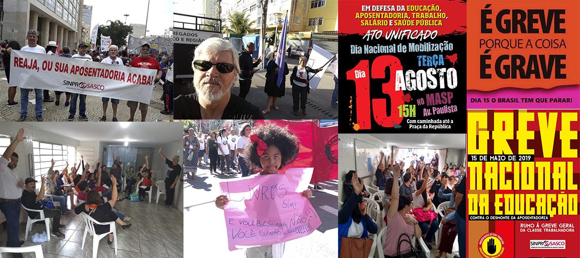 Retrospectiva 2019: ações do Sinprosasco em um ano marcado por lutas e protestos